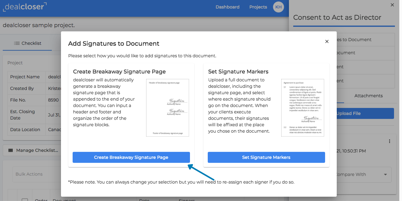 "Click ""Create Breakaway Signature Page""."